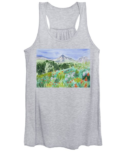 Watercolor - Wildflowers And Mountain Women's Tank Top