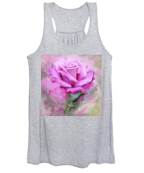 Watercolour Pastel Lilac Rose Women's Tank Top