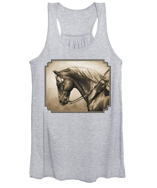 Western Horse Painting In Sepia Women's Tank Top