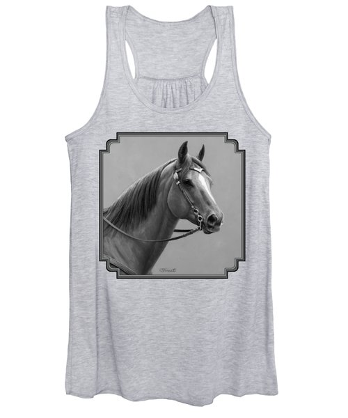 Western Quarter Horse Black And White Women's Tank Top