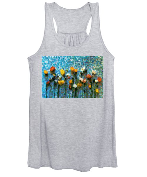 Whimsical Poppies On The Blue Wall Women's Tank Top