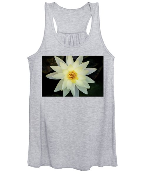 White And Yellow Water Lily Women's Tank Top