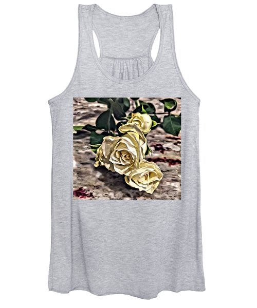 White Baby Roses Women's Tank Top