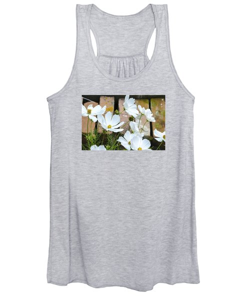 White Flowers Against Bricks Women's Tank Top