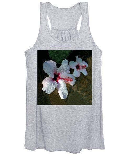 White Hibiscus Pair Women's Tank Top