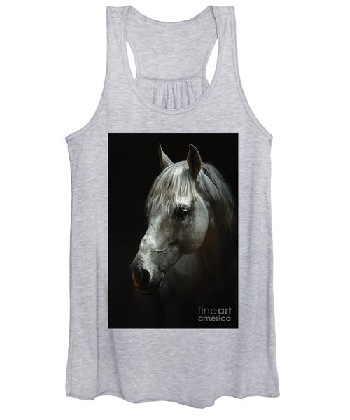 White Horse Portrait Women's Tank Top