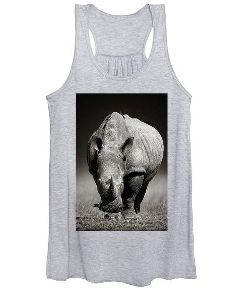 White Rhinoceros  In Due-tone Women's Tank Top
