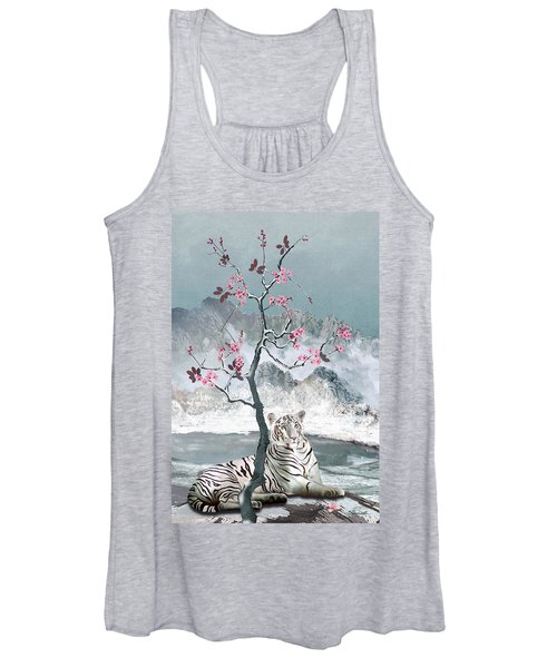 White Tiger And Plum Tree Women's Tank Top