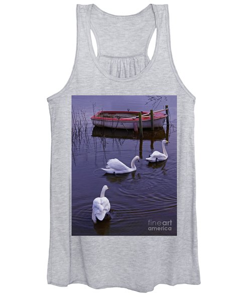Whooper Swans On River Women's Tank Top