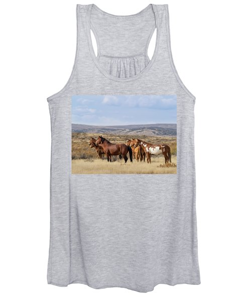 Wild Mustang Family Band In Sand Wash Basin Women's Tank Top