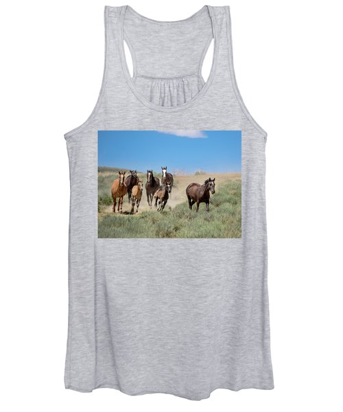 wild mustangs on the run to the water hole in Sand Wash Basin Women's Tank Top