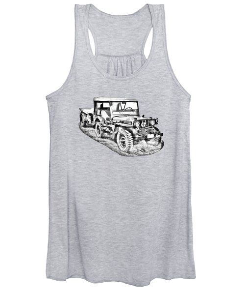 Willys World War Two Army Jeep Illustration Women's Tank Top