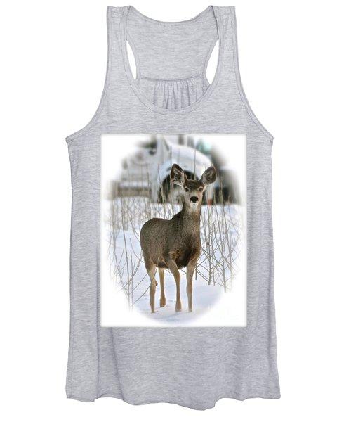 Winter Deer On The Tree Farm Women's Tank Top