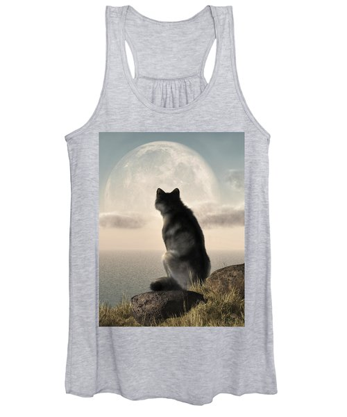 Wolf Watching The Moonrise Women's Tank Top