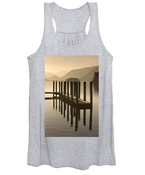 Wooden Dock In The Lake At Sunset Women's Tank Top