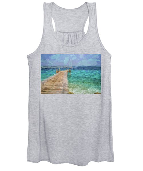 Wooden Jetty And Boat Women's Tank Top