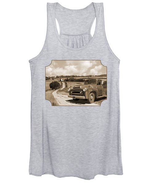 Down On The Fram - International Harvester In Sepia Women's Tank Top