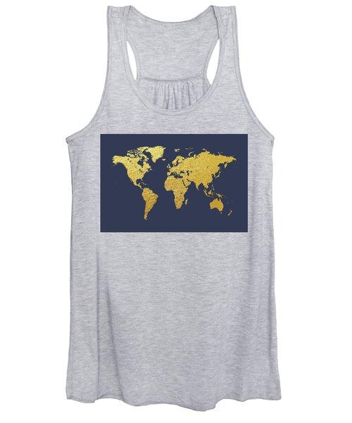 World Map Gold Foil Women's Tank Top