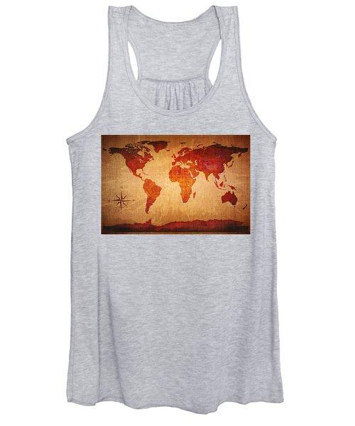 World Map Grunge Style Women's Tank Top