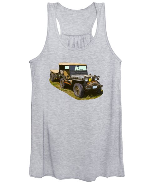 World War Two Army Jeep With Trailer  Women's Tank Top