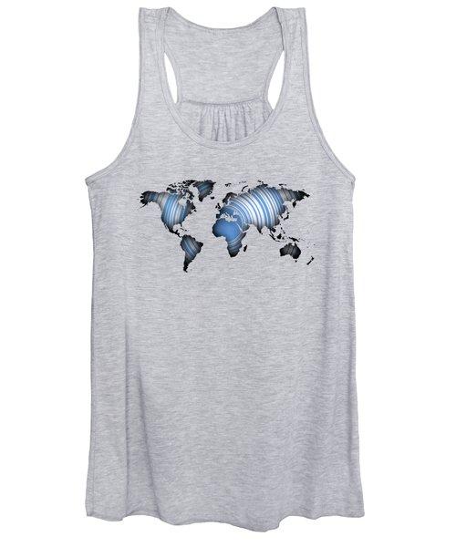 Worldmap Over Blue Circles Women's Tank Top