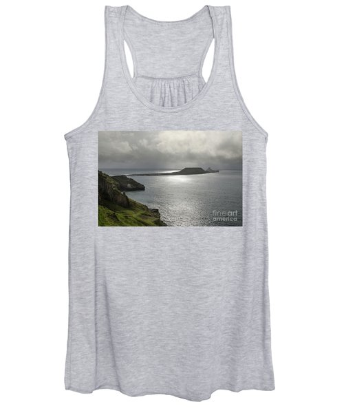 Women's Tank Top featuring the photograph Worms Head, Rhossili Bay, South Wales by Perry Rodriguez