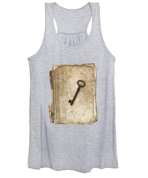 Worn And Tattered Book And Old Rusty Key Women's Tank Top