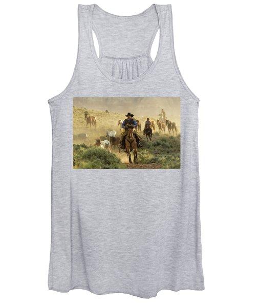 Wrangling The Horses At Sunrise  Women's Tank Top