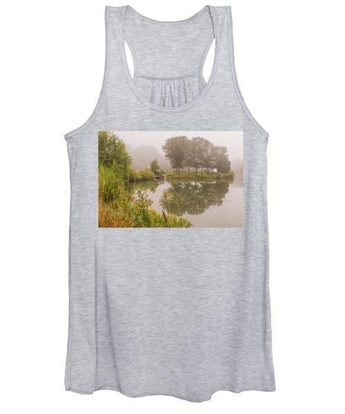 Misty Pond Bridge Reflection #5 Women's Tank Top