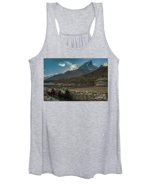 Yaks Moving Through Dingboche Women's Tank Top