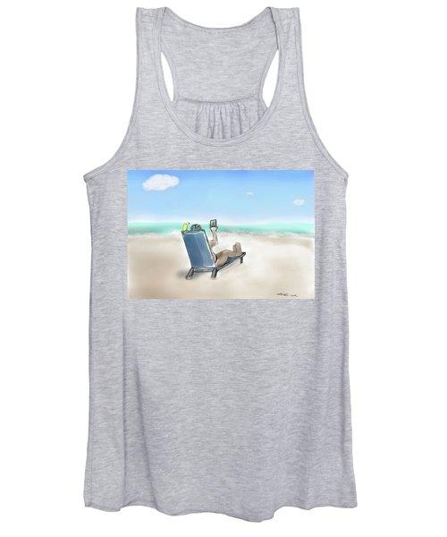 Yellow Bird Beach Selfie Women's Tank Top