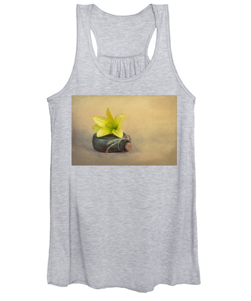 Yellow Lily And Green Bottle Women's Tank Top