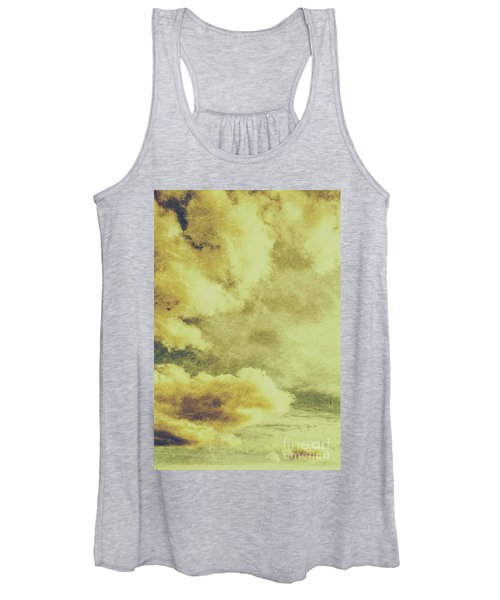 Yellow Toned Textured Grungy Cloudscape Women's Tank Top