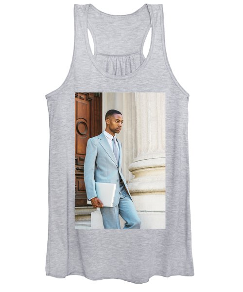 Young African American Businessman Working In New York Women's Tank Top
