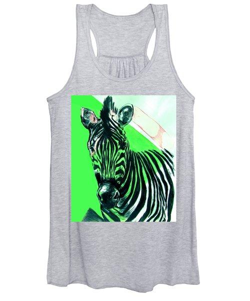 Zebra In Green Women's Tank Top