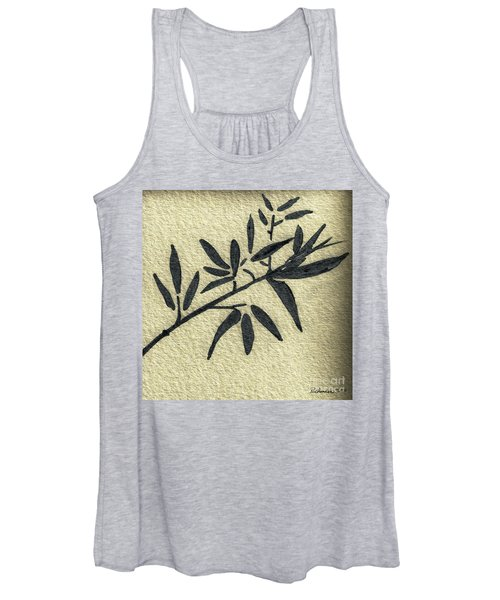 Zen Sumi Antique Botanical 4a Ink On Fine Art Watercolor Paper By Ricardos Women's Tank Top