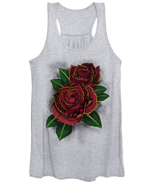 Zentangle Tattoo Rose Colored Women's Tank Top