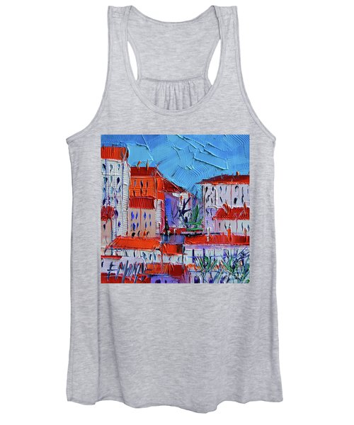 Zoom On Croix-rousse - Lyon France - Palette Knife Oil Painting By Mona Edulesco Women's Tank Top