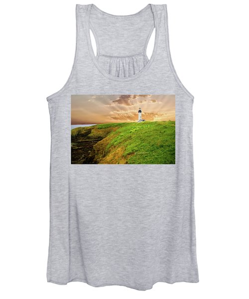 Lighthouse On  Yaquina Head  Women's Tank Top