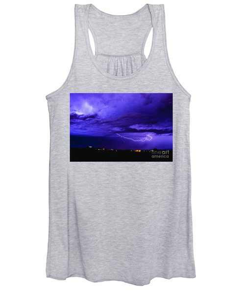 Rays In A Night Storm With Light And Clouds. Women's Tank Top