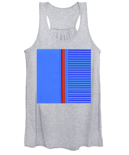 Blue With Red Stripe Women's Tank Top