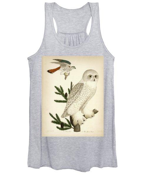 1. Snow Owl. 2. Male Sparrow-hawk. Women's Tank Top