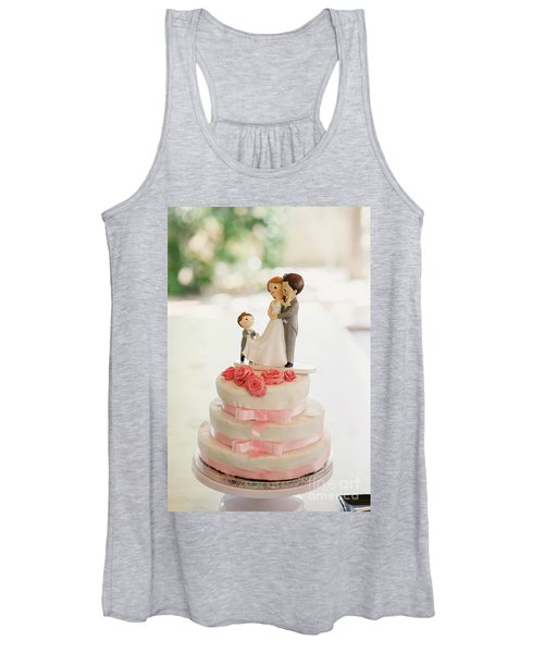 Desserts And Wedding Cake With Very Sweet Cupcakes At An Event. Women's Tank Top