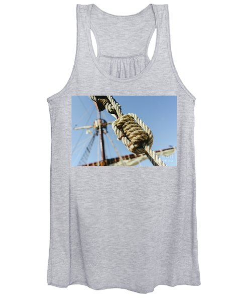 Rigging And Ropes On An Old Sailing Ship To Sail In Summer. Women's Tank Top
