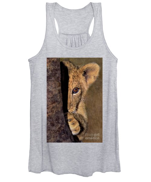 A Lion Cub Plays Hide And Seek Wildlife Rescue Women's Tank Top