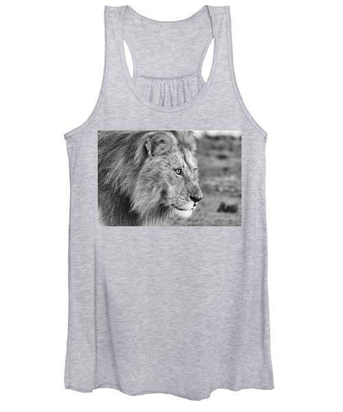 A Monochrome Male Lion Women's Tank Top