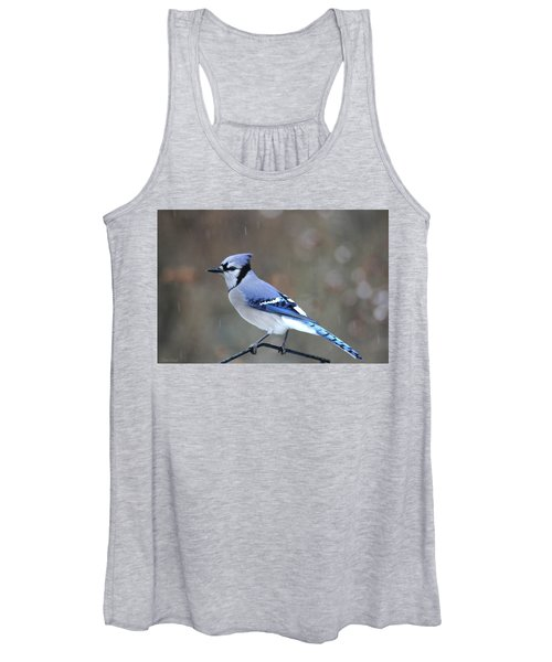 A Snowy Day With Blue Jay Women's Tank Top