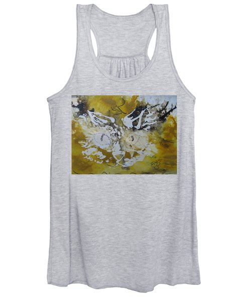 Abstract Cat Face Yellows And Browns Women's Tank Top
