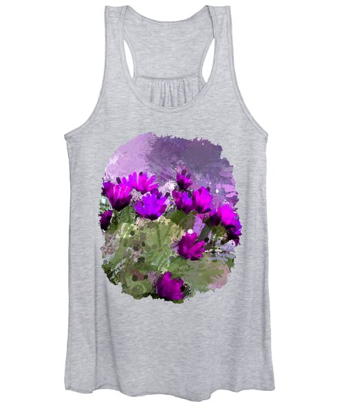 African Daisies With Wall Indigo Watercolor Women's Tank Top