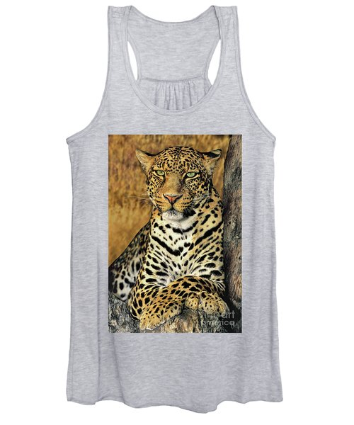 African Leopard Portrait Wildlife Rescue Women's Tank Top